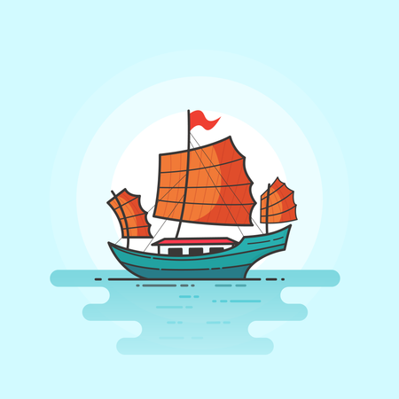 Junk Boat Illustration