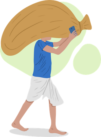 Labour Carrying Sack Illustration