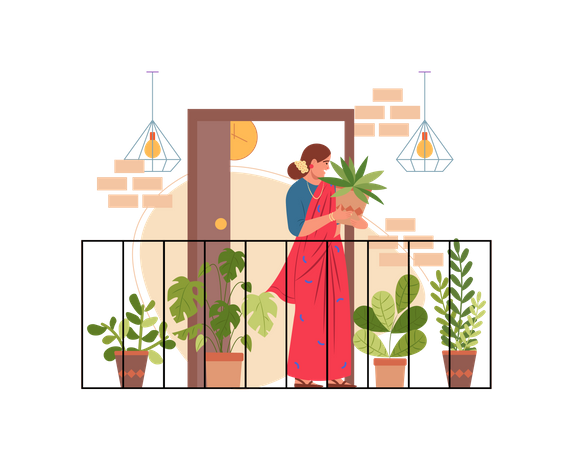 Lady doing gardening Illustration