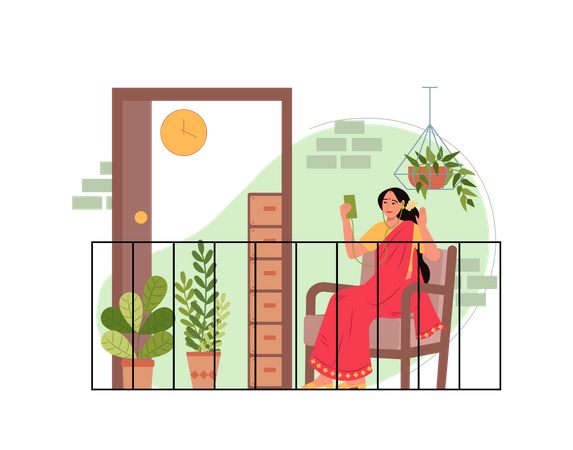 Lady doing video call to her friend in balcony Illustration