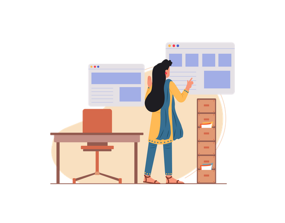 Lady employee working in the office Illustration
