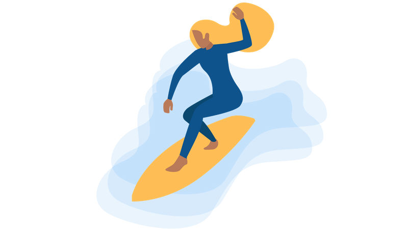 Lady enjoying surfing in sea Illustration