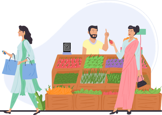 Lady going to buy vegetables Illustration