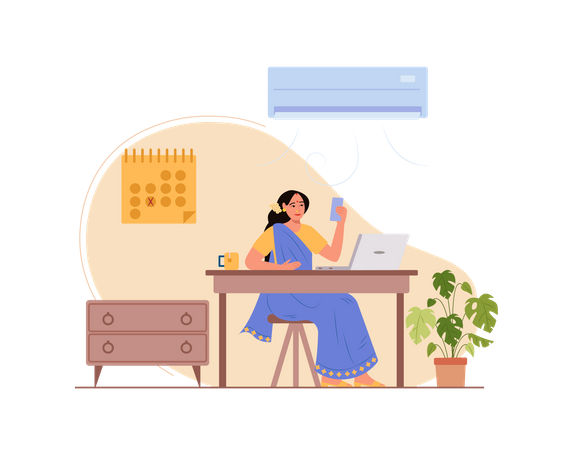 Lady holding mobile and attending video meeting while working on laptop Illustration