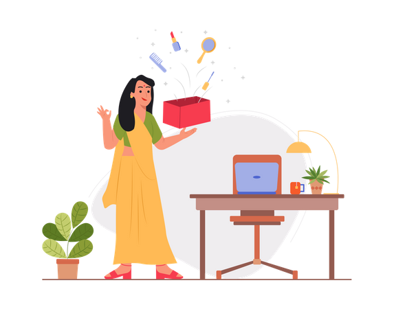 Lady opening product for review Illustration
