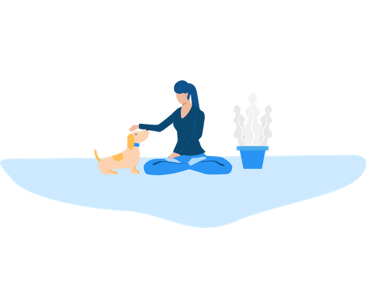 Lady playing with pet dog Illustration