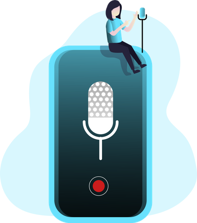 Lady podcasting with smartphone mic Illustration