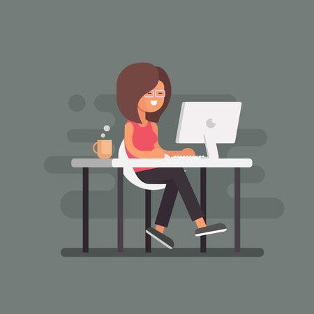 Lady working on desk Illustration