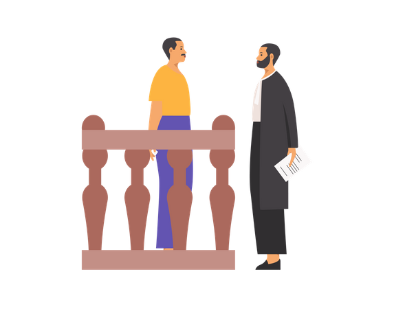 Lawyer asking questions to man Illustration