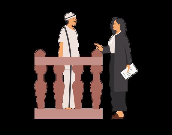 Lawyer talking to criminal Illustration