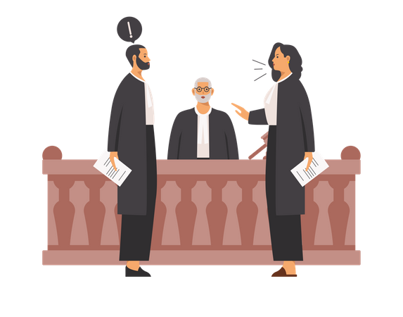Lawyers arguing with each other Illustration