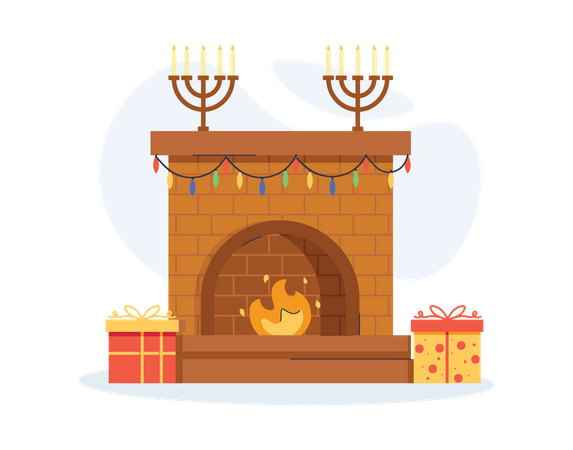 Living room with gifts Illustration