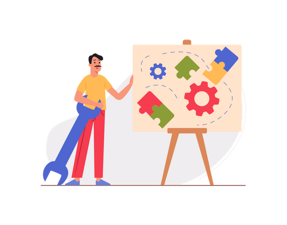Male employee working on business management strategy Illustration