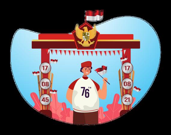 Man celebrating Indonesian independence day Illustration