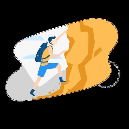 Man climbing on mountain Illustration