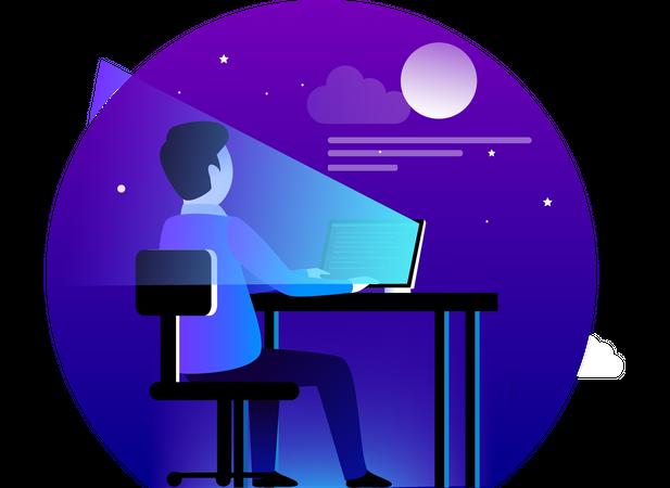 Man developing website on desk Illustration