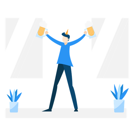 Man enjoying party with beer Illustration