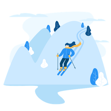 Man enjoying skating on mountain covered with snow Illustration