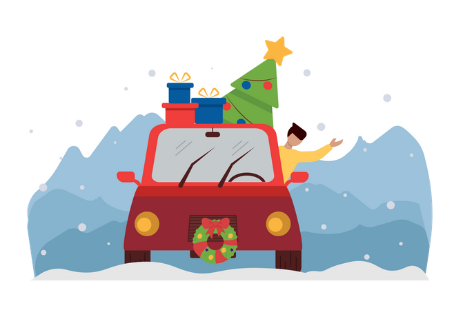 Man going for christmas party in car Illustration