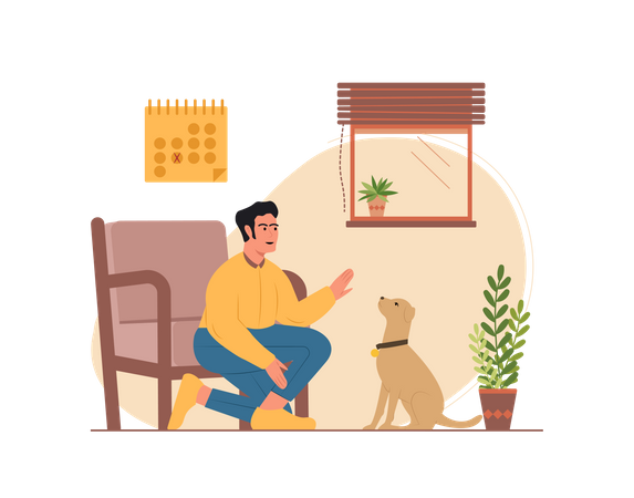 Man playing with the dog Illustration