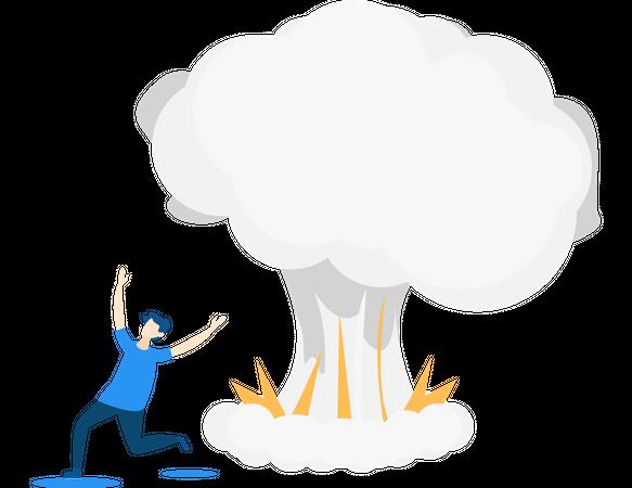 Man running because of bomb explosion Illustration