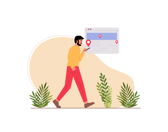 Man searching location using gps Illustration