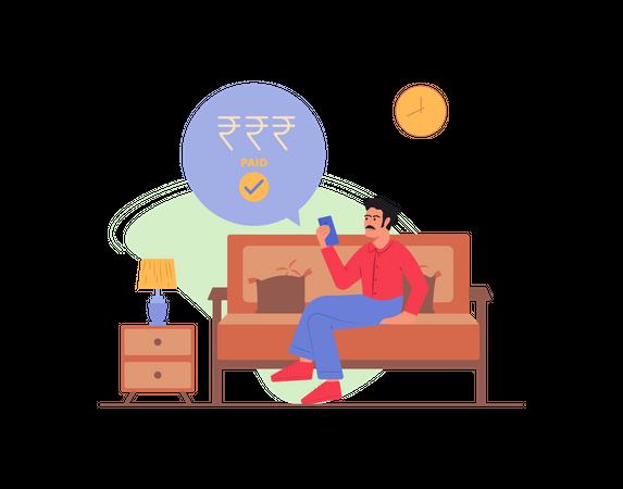Man sitting on sofa paying his bills Illustration
