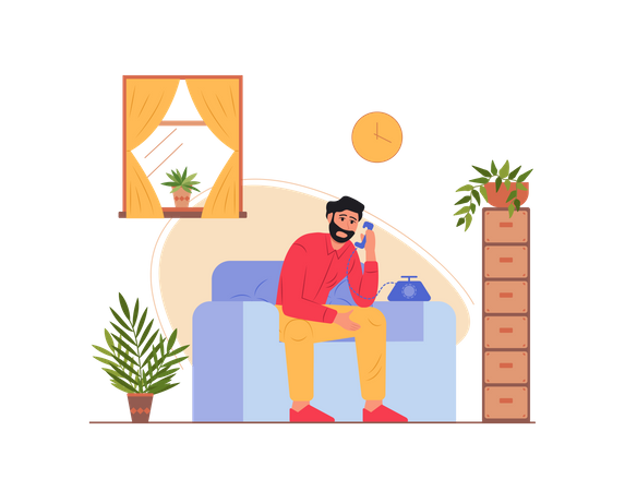 Man talking on the telephone Illustration