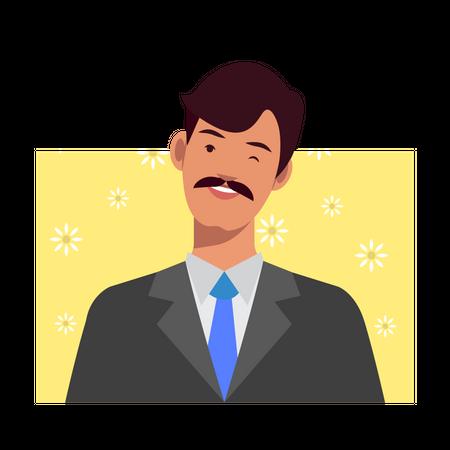 Man winking Illustration