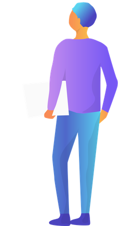 Man with Documents Illustration