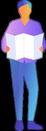 Man with map Illustration
