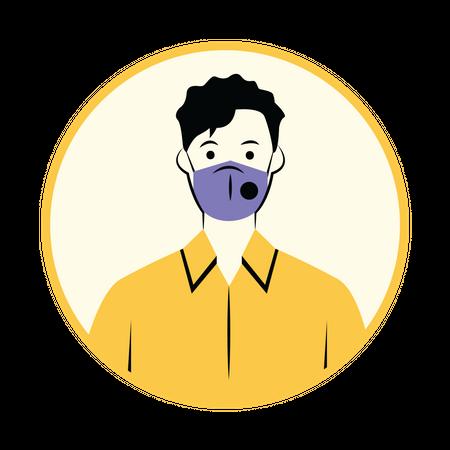 Man with N95 mask Illustration