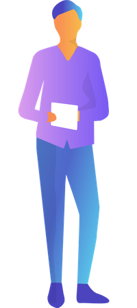 Man with tablet Illustration