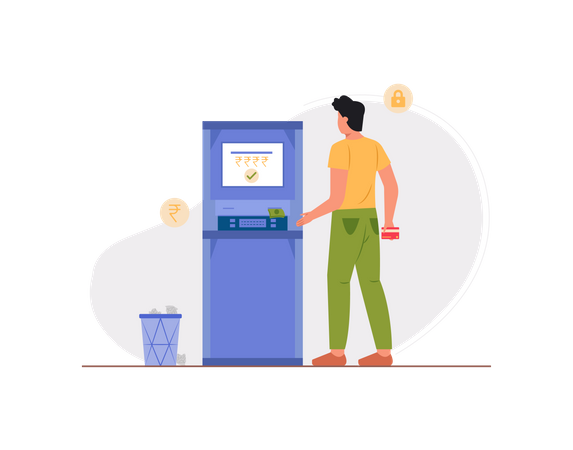 Man withdrawing money from ATM Illustration