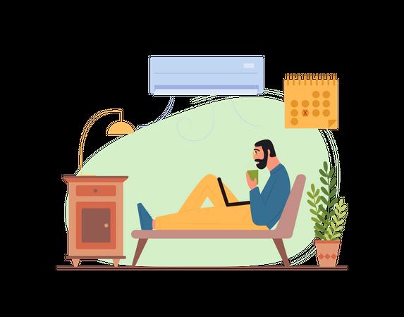 Man working on laptop while seating on sofa Illustration