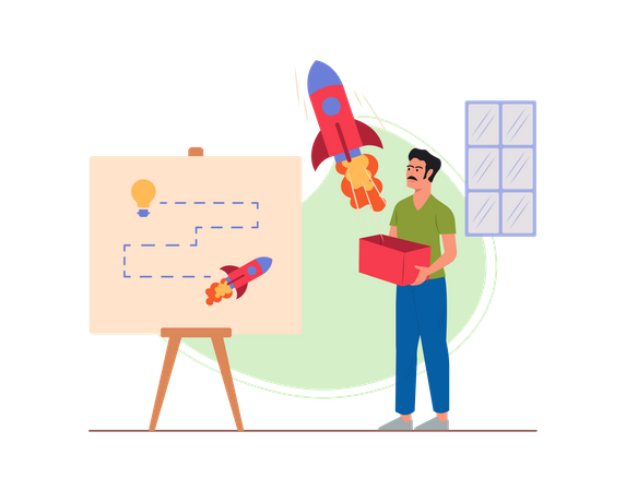Marketing employee working on startup plan of product launch Illustration