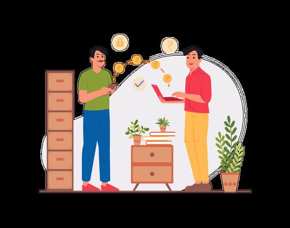 Men doing money transfer Illustration