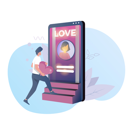 Men looking for love with a dating app Illustration