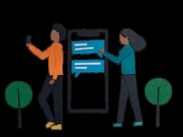 Mobile chatting app Illustration