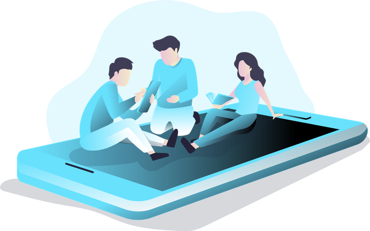 Mobile Testing and Group Discussion Illustration