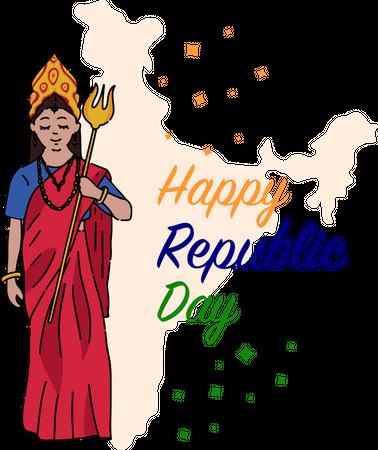 Mother India holding Trishul Illustration