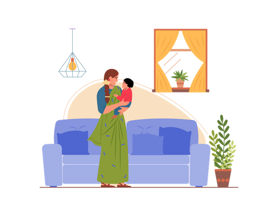 Mother playing with her son in the home Illustration