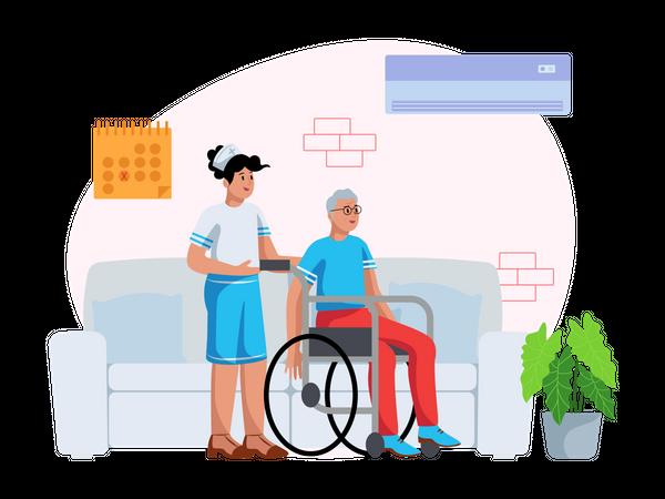 Nurse Helping handicapped man Illustration