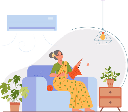 Old lady knitting sweater in home Illustration