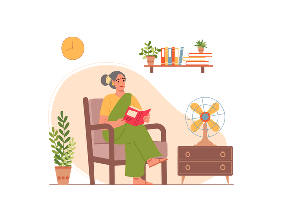 Old lady reading book Illustration