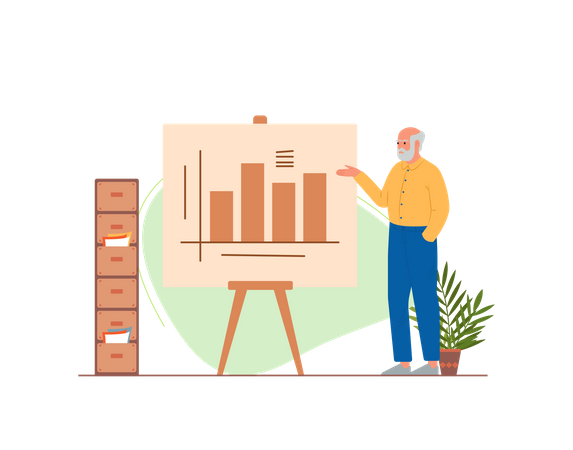 Old man working in the office Illustration