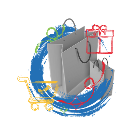 Online shopping concept with shopping bags and trolley Illustration
