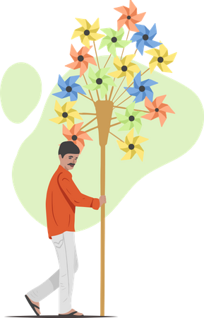 Paper Windmill Sellor Illustration