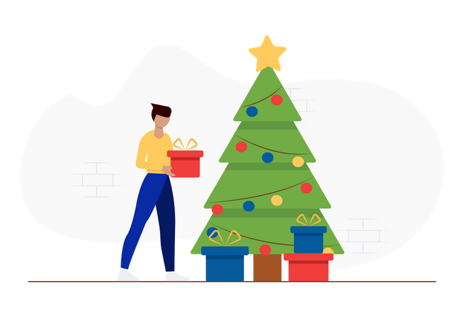 People celebrating christmas with Christmas tree and gifts Illustration