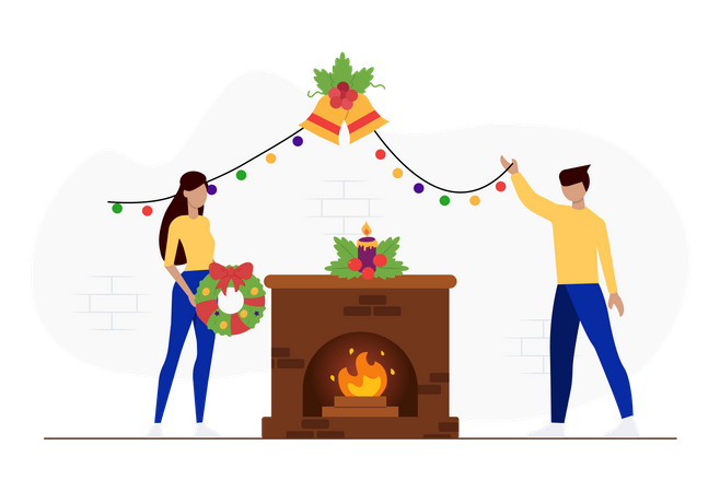 People decorating house for Christmas Illustration